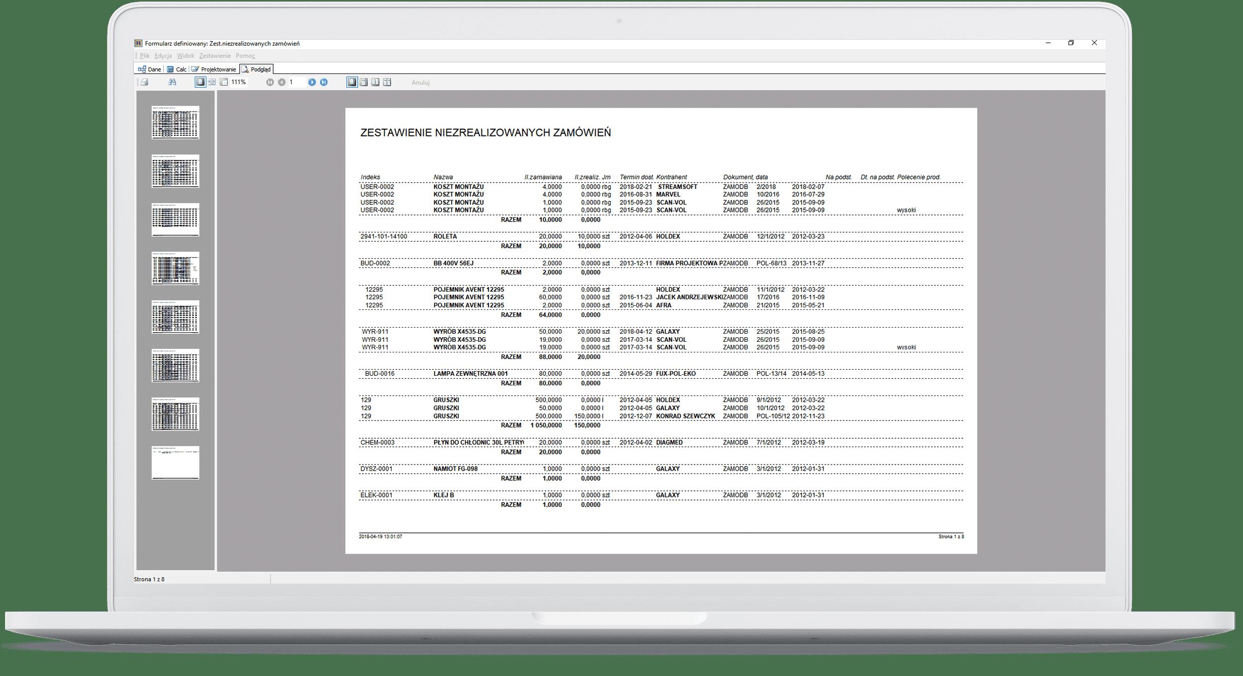 Analiza i wysyłka